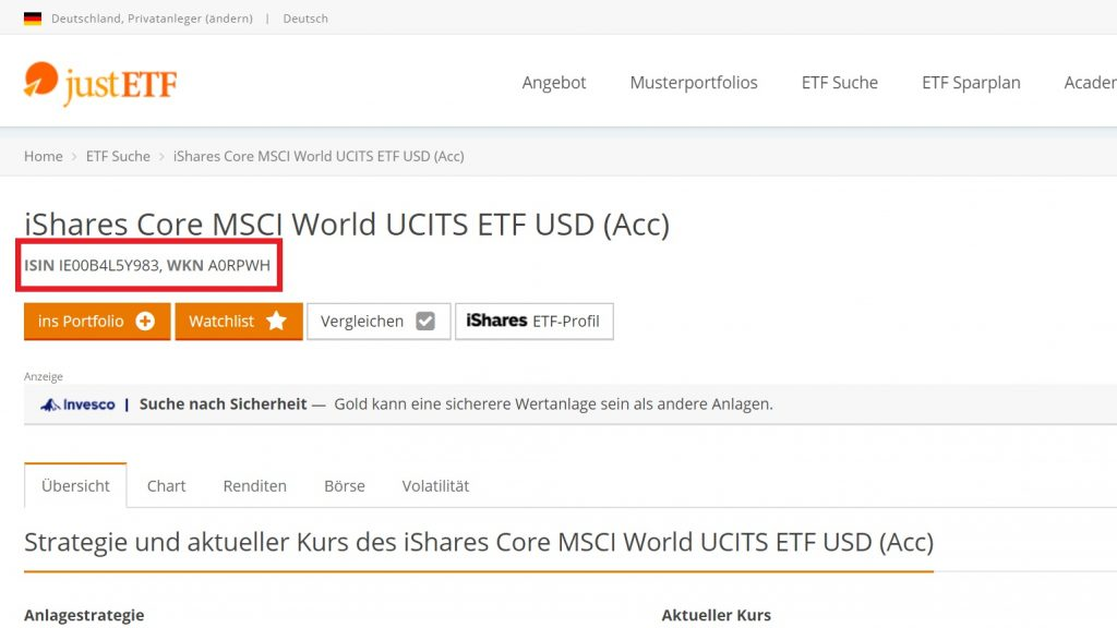 justETF-Seite zum iShares Core MSCI World