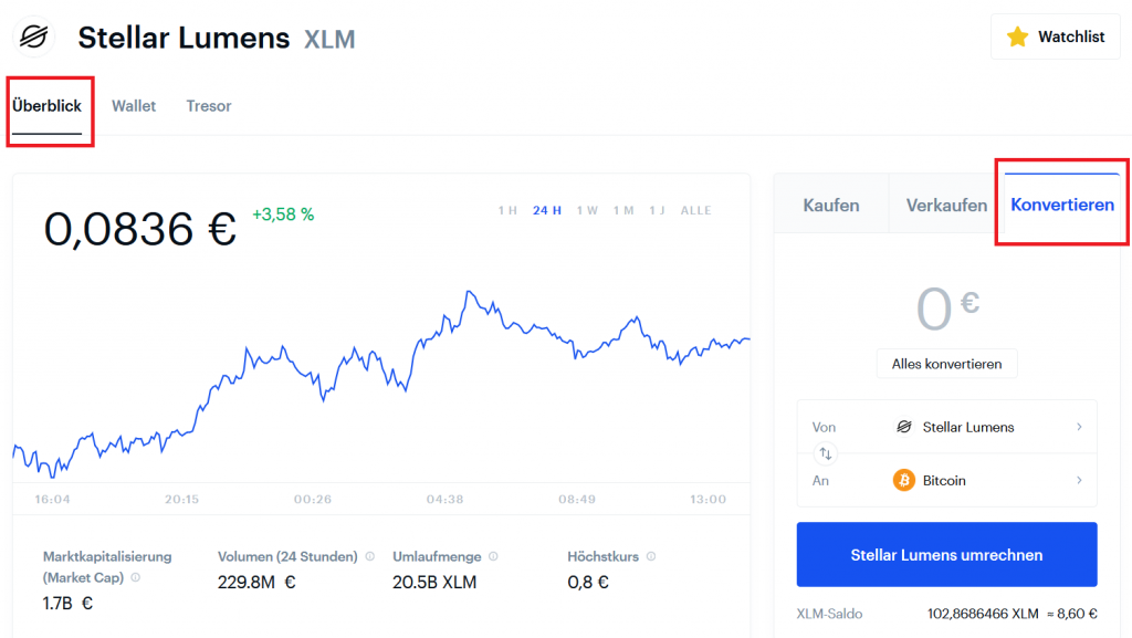 Screenshot Coinbase Kryptowährungen umtauschen