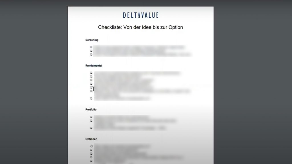 Screenshot Checkliste Optionen